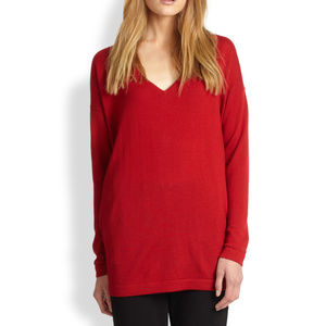 Eileen Fisher Wool V Neck Tunic Sweater